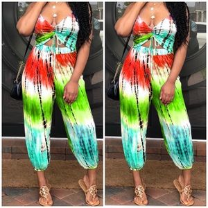 Pants - New! BohemianPants Jumpsuit Romper Rainbow Tie Dye